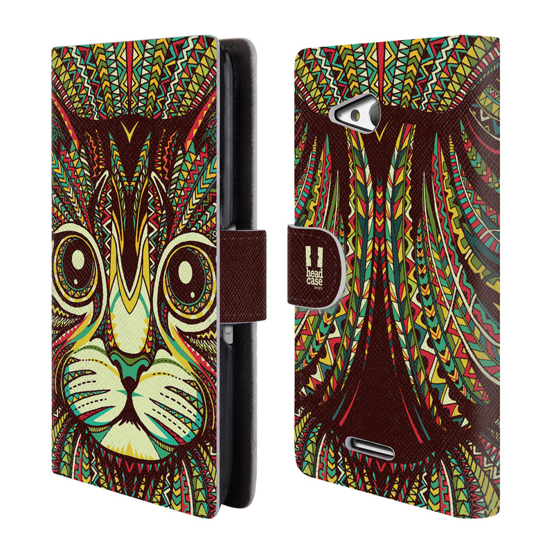 Flipové pouzdro na mobil Sony Xperia E4g HEAD CASE Aztec kočka (Flipový vyklápěcí kryt či obal z umělé kůže na mobilní telefon Sony Xperia E4G E2003)