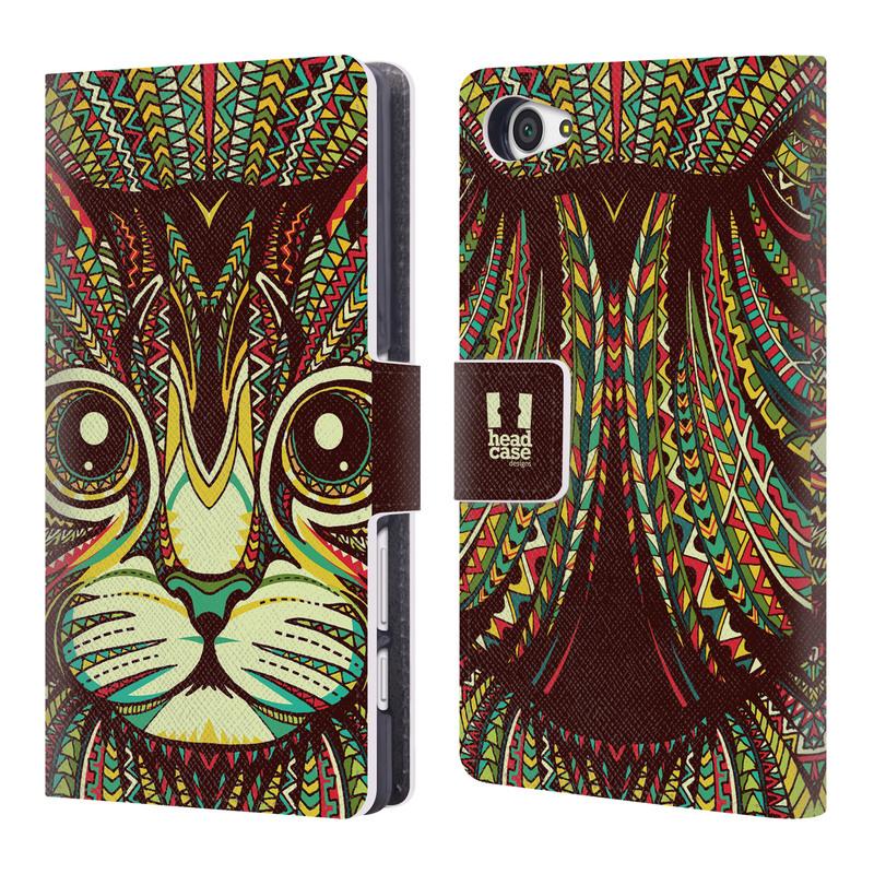 Flipové pouzdro na mobil Sony Xperia Z5 Compact HEAD CASE Aztec kočka (Flipový vyklápěcí kryt či obal z umělé kůže na mobilní telefon Sony Xperia Z5 Compact E5823)