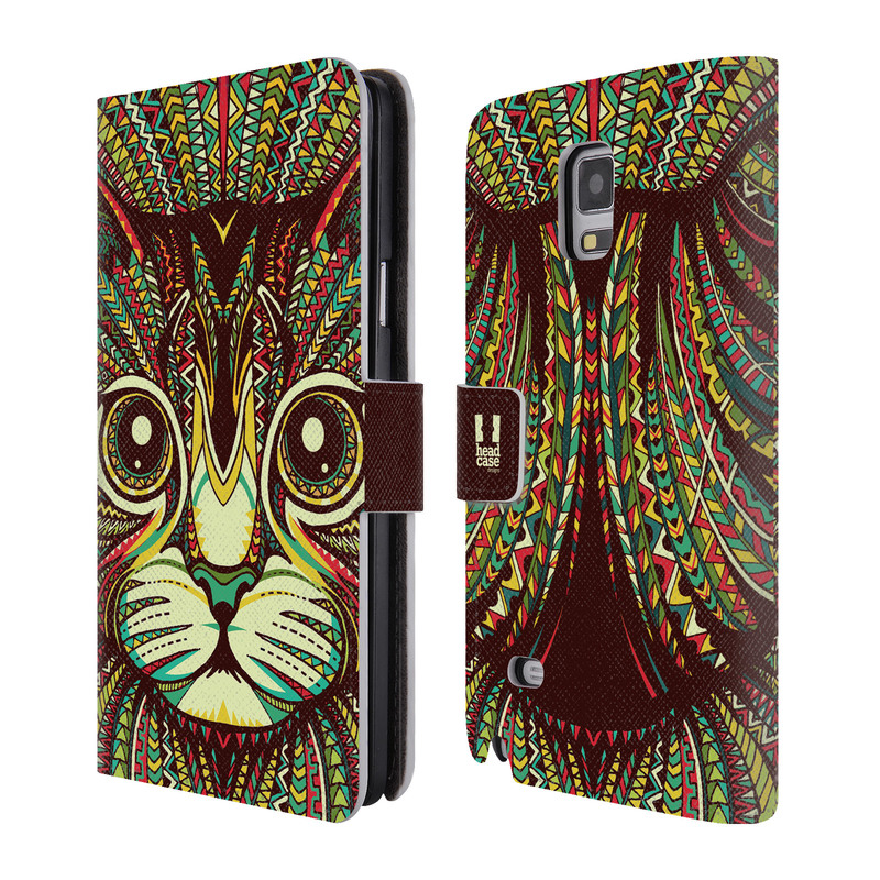 Flipové pouzdro na mobil Samsung Galaxy Note 4 HEAD CASE Aztec kočka (Flipový vyklápěcí kryt či obal z umělé kůže na mobilní telefon Samsung Galaxy Note 4 SM-N910)