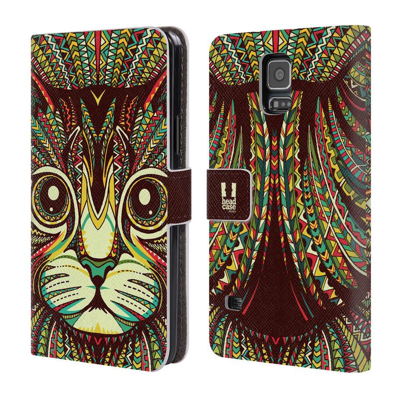 Flipové pouzdro na mobil Samsung Galaxy S5 HEAD CASE Aztec kočka (Flipový vyklápěcí kryt či obal z umělé kůže na mobilní telefon Samsung Galaxy S5 SM-G900)