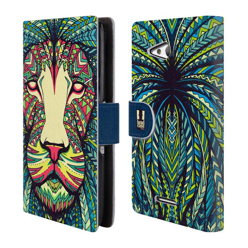 Flipové pouzdro na mobil Sony Xperia E4g HEAD CASE Aztec Lev (Flipový vyklápěcí kryt či obal z umělé kůže na mobilní telefon Sony Xperia E4G E2003)