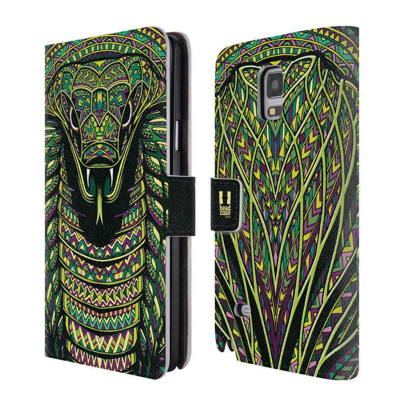 Flipové pouzdro na mobil Samsung Galaxy Note 4 HEAD CASE Aztec had (Flipový vyklápěcí kryt či obal z umělé kůže na mobilní telefon Samsung Galaxy Note 4 SM-N910)