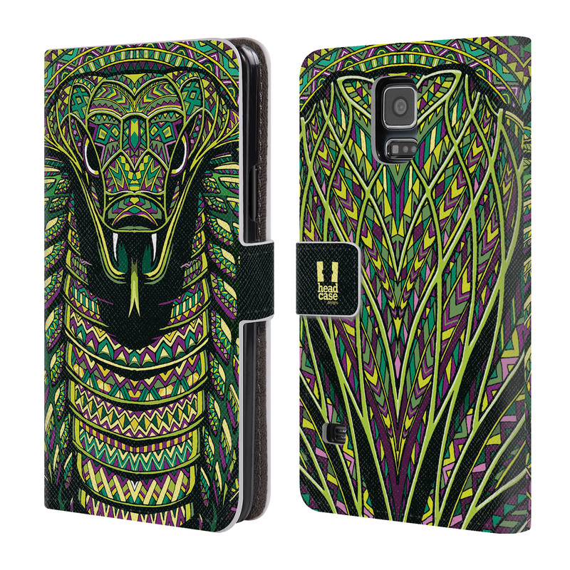Flipové pouzdro na mobil Samsung Galaxy S5 HEAD CASE Aztec had (Flipový vyklápěcí kryt či obal z umělé kůže na mobilní telefon Samsung Galaxy S5 SM-G900)