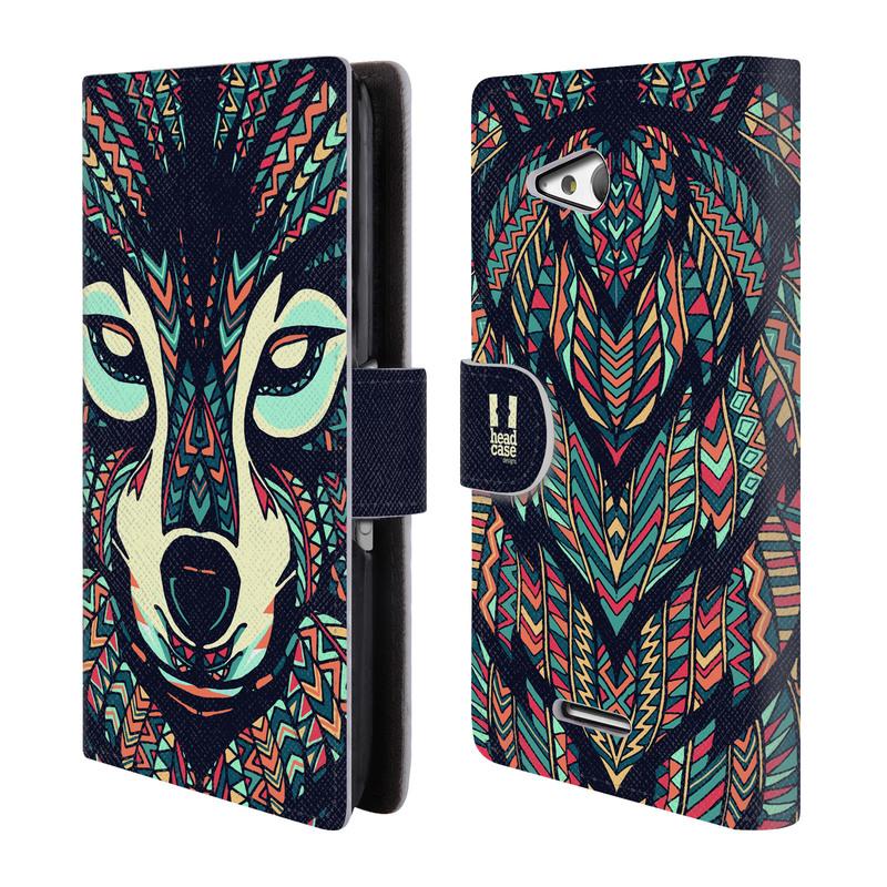 Flipové pouzdro na mobil Sony Xperia E4g HEAD CASE Aztec Vlk (Flipový vyklápěcí kryt či obal z umělé kůže na mobilní telefon Sony Xperia E4G E2003)