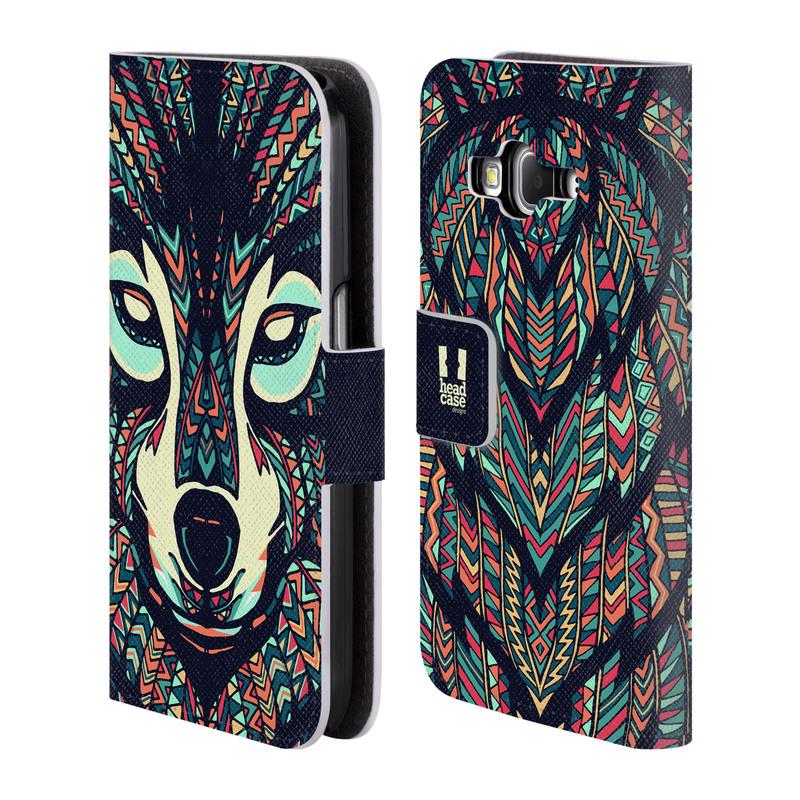 Flipové pouzdro na mobil Samsung Galaxy Core Prime LTE HEAD CASE Aztec Vlk (Flipový vyklápěcí kryt či obal z umělé kůže na mobilní telefon Samsung Galaxy Core Prime LTE SM-G360)