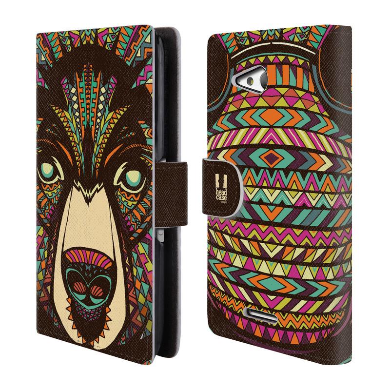 Flipové pouzdro na mobil Sony Xperia E4g HEAD CASE Aztec medvěd (Flipový vyklápěcí kryt či obal z umělé kůže na mobilní telefon Sony Xperia E4G E2003)