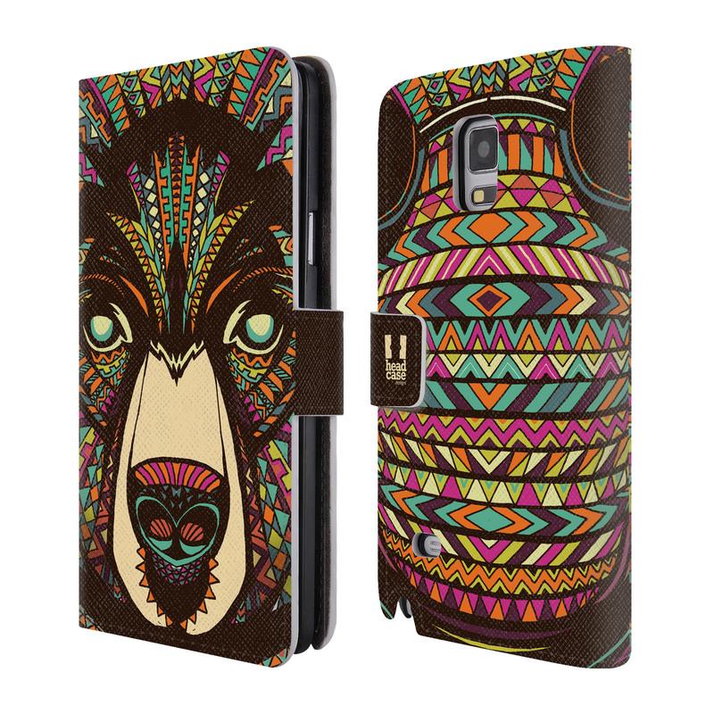 Flipové pouzdro na mobil Samsung Galaxy Note 4 HEAD CASE Aztec medvěd (Flipový vyklápěcí kryt či obal z umělé kůže na mobilní telefon Samsung Galaxy Note 4 SM-N910)