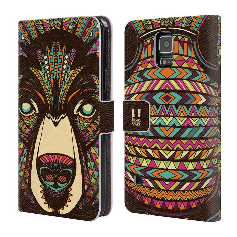 Flipové pouzdro na mobil Samsung Galaxy S5 HEAD CASE Aztec medvěd (Flipový vyklápěcí kryt či obal z umělé kůže na mobilní telefon Samsung Galaxy S5 SM-G900)