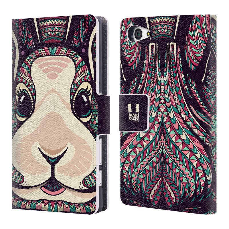 Flipové pouzdro na mobil Sony Xperia Z5 Compact HEAD CASE Aztec zajíček (Flipový vyklápěcí kryt či obal z umělé kůže na mobilní telefon Sony Xperia Z5 Compact E5823)