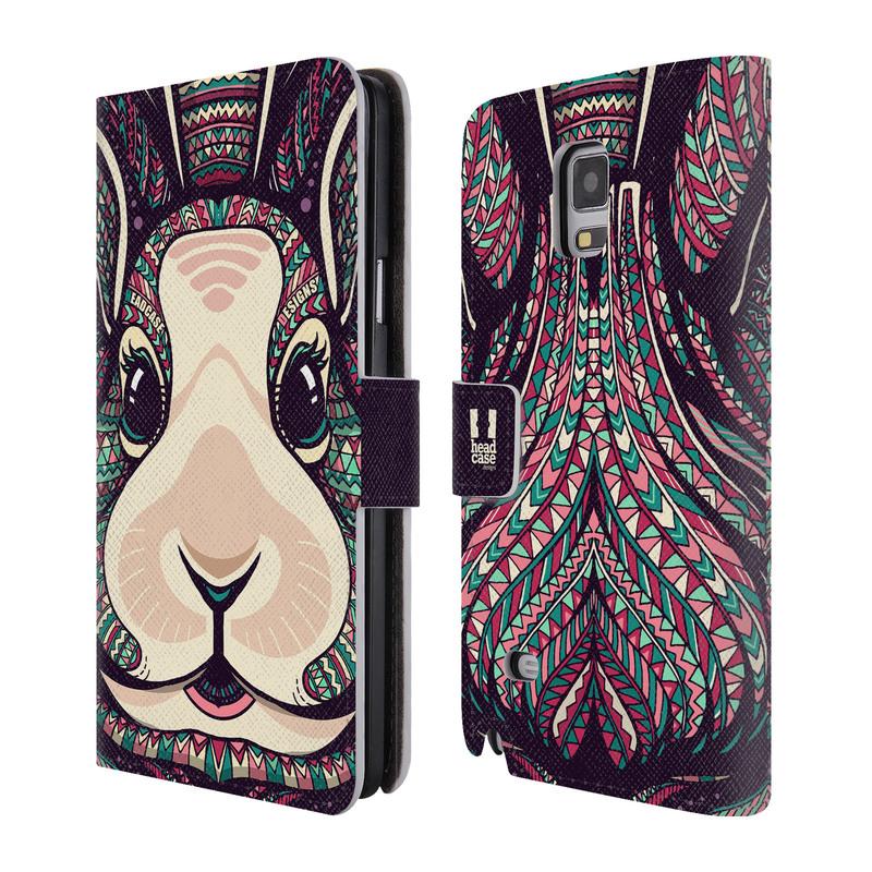 Flipové pouzdro na mobil Samsung Galaxy Note 4 HEAD CASE Aztec zajíček (Flipový vyklápěcí kryt či obal z umělé kůže na mobilní telefon Samsung Galaxy Note 4 SM-N910)