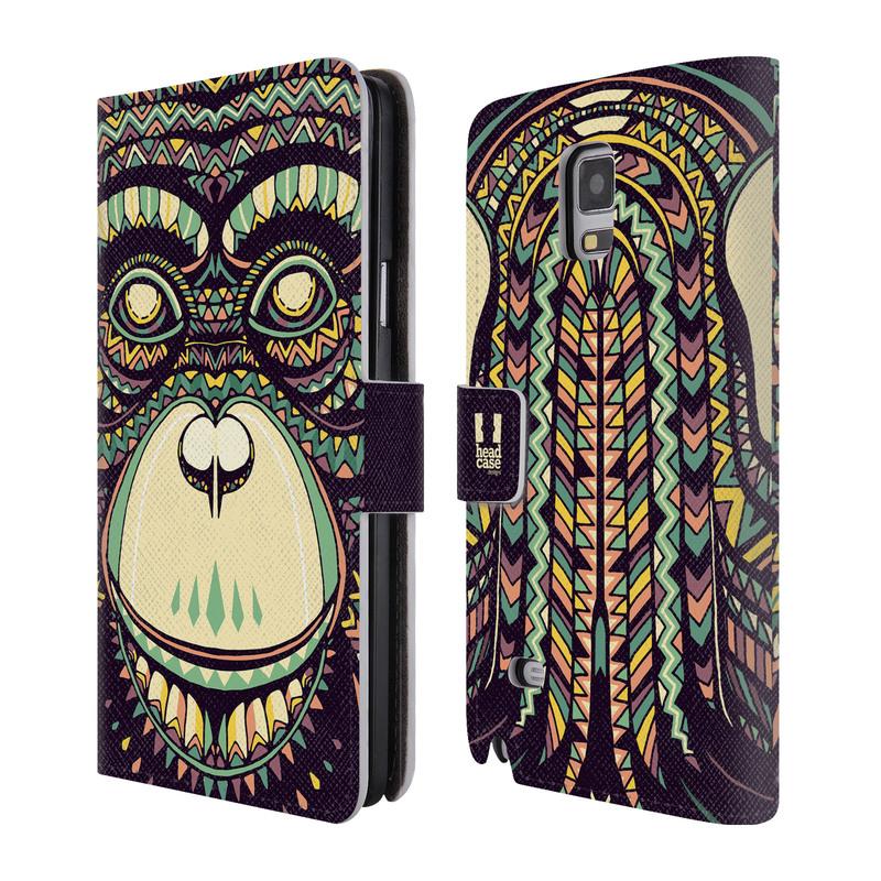 Flipové pouzdro na mobil Samsung Galaxy Note 4 HEAD CASE Aztec opice (Flipový vyklápěcí kryt či obal z umělé kůže na mobilní telefon Samsung Galaxy Note 4 SM-N910)