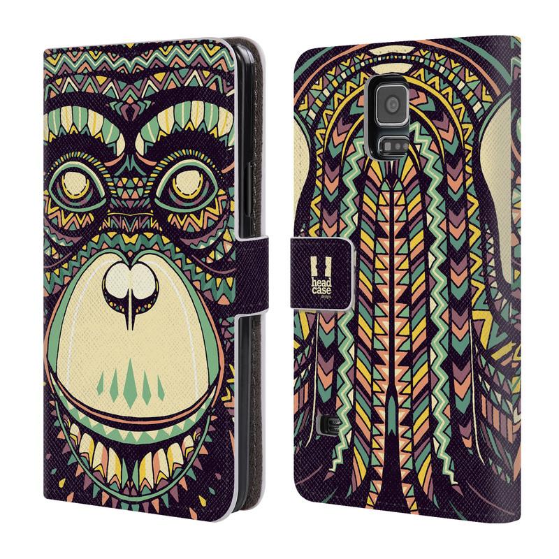 Flipové pouzdro na mobil Samsung Galaxy S5 HEAD CASE Aztec opice (Flipový vyklápěcí kryt či obal z umělé kůže na mobilní telefon Samsung Galaxy S5 SM-G900)