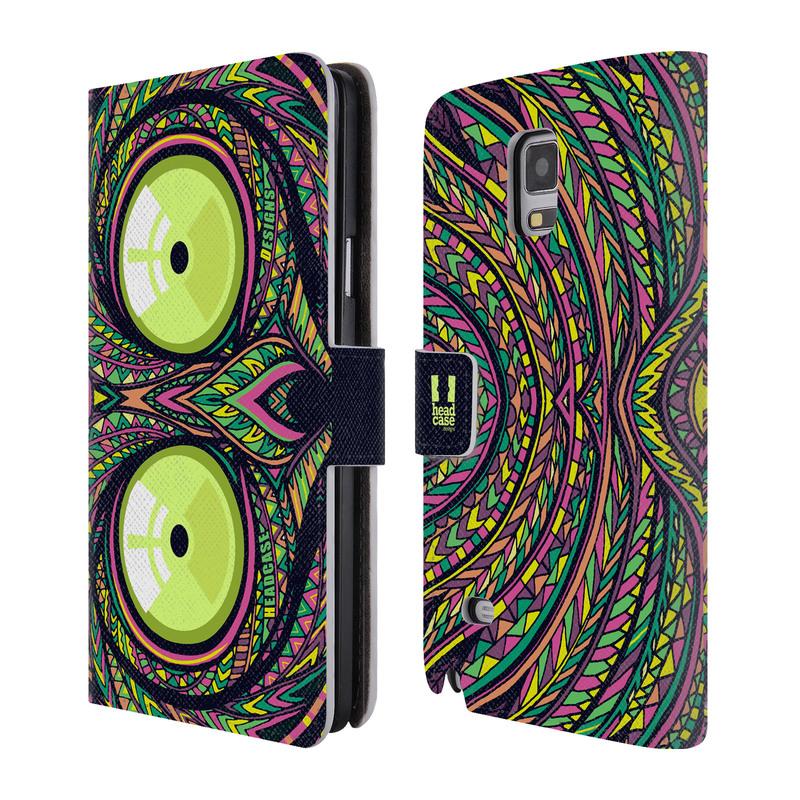 Flipové pouzdro na mobil Samsung Galaxy Note 4 HEAD CASE Aztec nártoun (Flipový vyklápěcí kryt či obal z umělé kůže na mobilní telefon Samsung Galaxy Note 4 SM-N910)