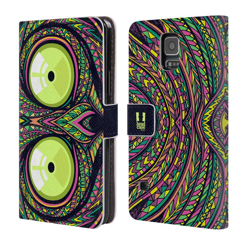 Flipové pouzdro na mobil Samsung Galaxy S5 HEAD CASE Aztec nártoun (Flipový vyklápěcí kryt či obal z umělé kůže na mobilní telefon Samsung Galaxy S5 SM-G900)