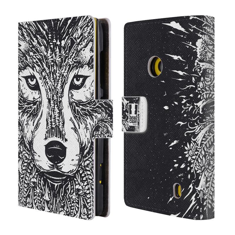 Flipové pouzdro na mobil Nokia Lumia 520 HEAD CASE Doodle tvář vlk (Flipový vyklápěcí kryt či obal z umělé kůže na mobilní telefon Nokia Lumia 520)
