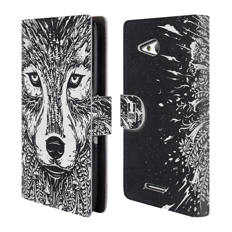 Flipové pouzdro na mobil Sony Xperia E4g HEAD CASE Doodle tvář vlk (Flipový vyklápěcí kryt či obal z umělé kůže na mobilní telefon Sony Xperia E4G E2003)