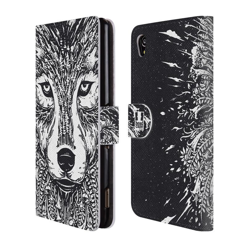 Flipové pouzdro na mobil Sony Xperia M4 Aqua HEAD CASE Doodle tvář vlk (Flipový vyklápěcí kryt či obal z umělé kůže na mobilní telefon Sony Xperia M4 Aqua E2303)