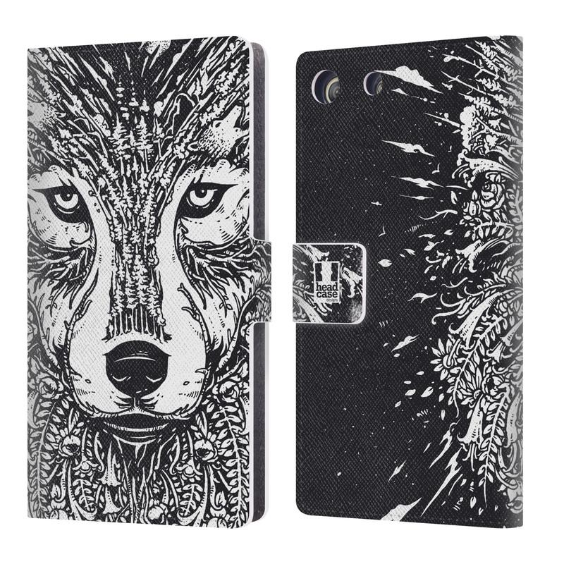Flipové pouzdro na mobil Sony Xperia M5 HEAD CASE Doodle tvář vlk (Flipový vyklápěcí kryt či obal z umělé kůže na mobilní telefon Sony Xperia M5 Aqua E5603)