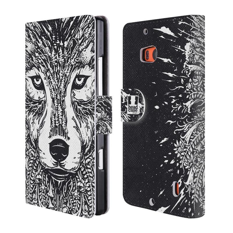 Flipové pouzdro na mobil Nokia Lumia 930 HEAD CASE Doodle tvář vlk (Flipový vyklápěcí kryt či obal z umělé kůže na mobilní telefon Nokia Lumia 930)
