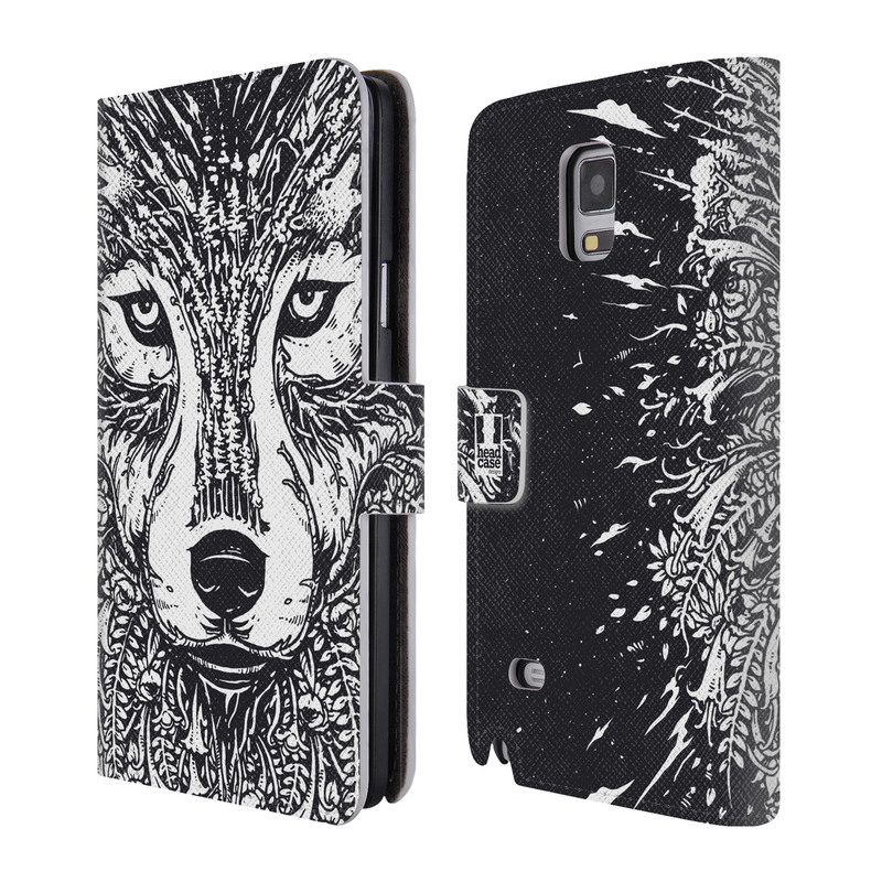 Flipové pouzdro na mobil Samsung Galaxy Note 4 HEAD CASE Doodle tvář vlk (Flipový vyklápěcí kryt či obal z umělé kůže na mobilní telefon Samsung Galaxy Note 4 SM-N910)