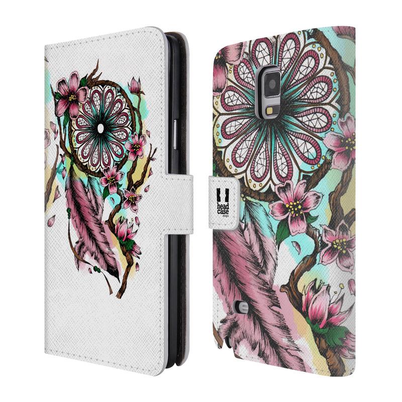 Flipové pouzdro na mobil Samsung Galaxy Note 4 HEAD CASE Bloom blossoms (Flipový vyklápěcí kryt či obal z umělé kůže na mobilní telefon Samsung Galaxy Note 4 SM-N910)