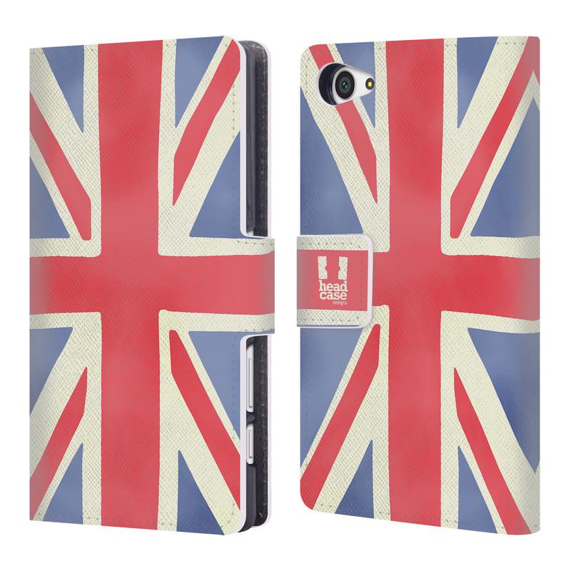 Flipové pouzdro na mobil Sony Xperia Z5 Compact HEAD CASE Britská vlajka (Flipový vyklápěcí kryt či obal z umělé kůže na mobilní telefon Sony Xperia Z5 Compact E5823)