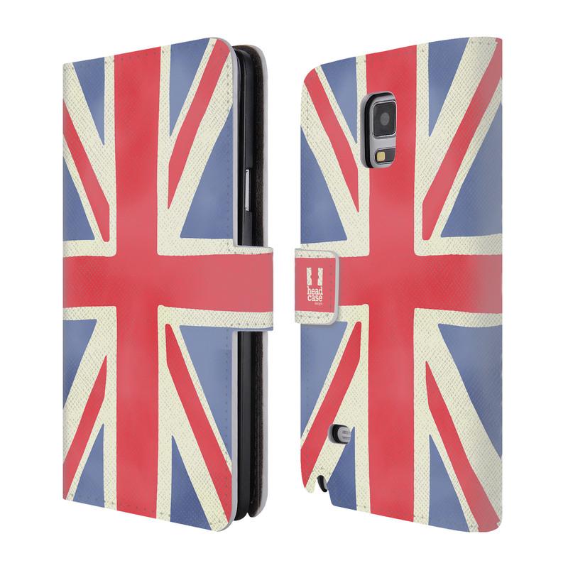 Flipové pouzdro na mobil Samsung Galaxy Note 4 HEAD CASE Britská vlajka (Flipový vyklápěcí kryt či obal z umělé kůže na mobilní telefon Samsung Galaxy Note 4 SM-N910)