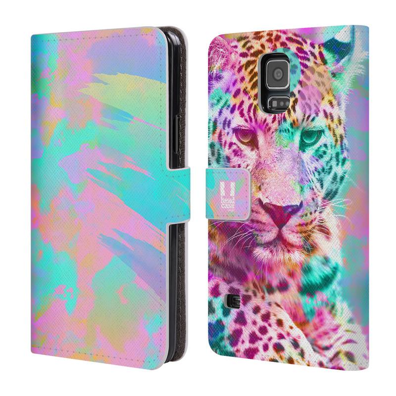 Flipové pouzdro na mobil Samsung Galaxy S5 HEAD CASE Mix Leopard (Flipový vyklápěcí kryt či obal z umělé kůže na mobilní telefon Samsung Galaxy S5 SM-G900)