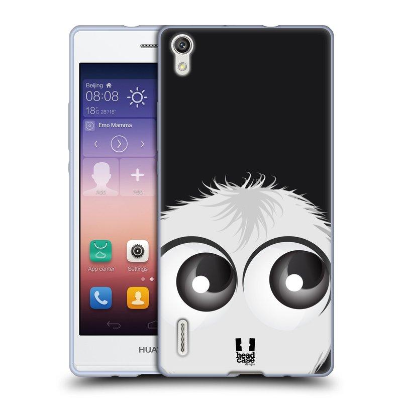Silikonové pouzdro na mobil Huawei P7 HEAD CASE FUZÍK BÍLÝ (Silikonový kryt či obal na mobilní telefon Huawei Ascend P7)