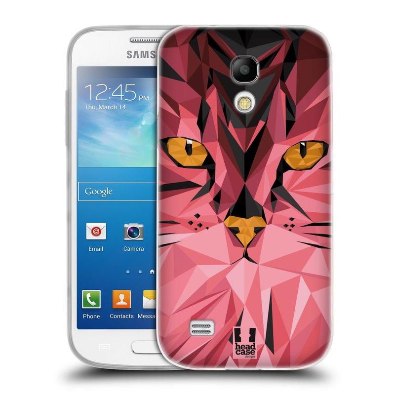 Silikonové pouzdro na mobil Samsung Galaxy S4 Mini VE HEAD CASE GEOMETRIC KOČKA (Silikonový kryt či obal na mobilní telefon Samsung Galaxy S4 Mini VE GT-i9195i (nepasuje na verzi Black Edition))