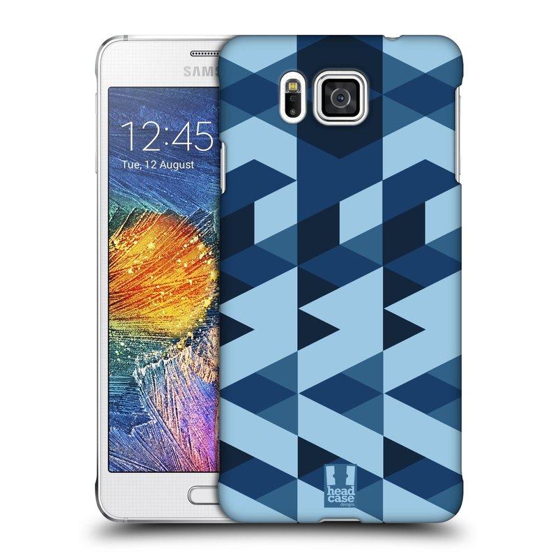 Plastové pouzdro na mobil Samsung Galaxy Alpha HEAD CASE GEOMETRIC BLUE (Kryt či obal na mobilní telefon Samsung Galaxy Alpha SM-G850)