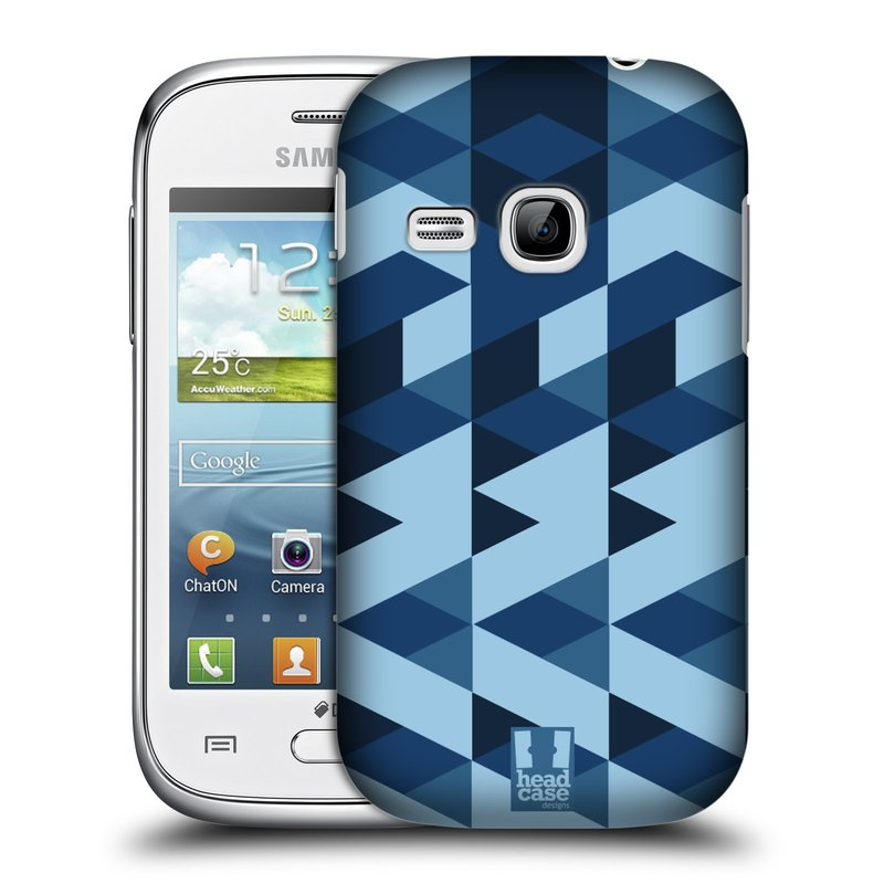 Plastové pouzdro na mobil Samsung Galaxy Young HEAD CASE GEOMETRIC BLUE (Kryt či obal na mobilní telefon Samsung Galaxy Young GT-S6310)