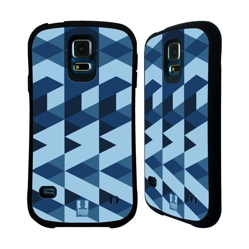 Nárazuvzdorné pouzdro na mobil Samsung Galaxy S5 HEAD CASE GEOMETRIC BLUE (Odolný nárazuvzdorný silikonový kryt či obal na mobilní telefon Samsung Galaxy S5 SM-G900F)