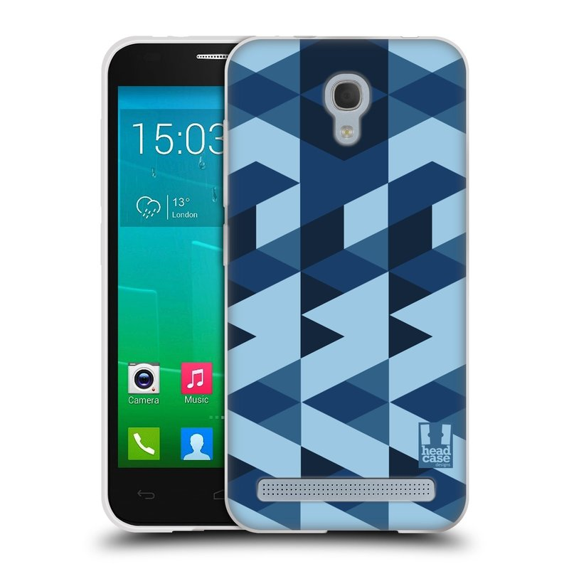 Silikonové pouzdro na mobil Alcatel One Touch Idol 2 Mini S 6036Y HEAD CASE GEOMETRIC BLUE (Silikonový kryt či obal na mobilní telefon Alcatel Idol 2 Mini S OT-6036Y)