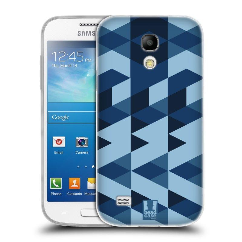 Silikonové pouzdro na mobil Samsung Galaxy S4 Mini VE HEAD CASE GEOMETRIC BLUE (Silikonový kryt či obal na mobilní telefon Samsung Galaxy S4 Mini VE GT-i9195i (nepasuje na verzi Black Edition))