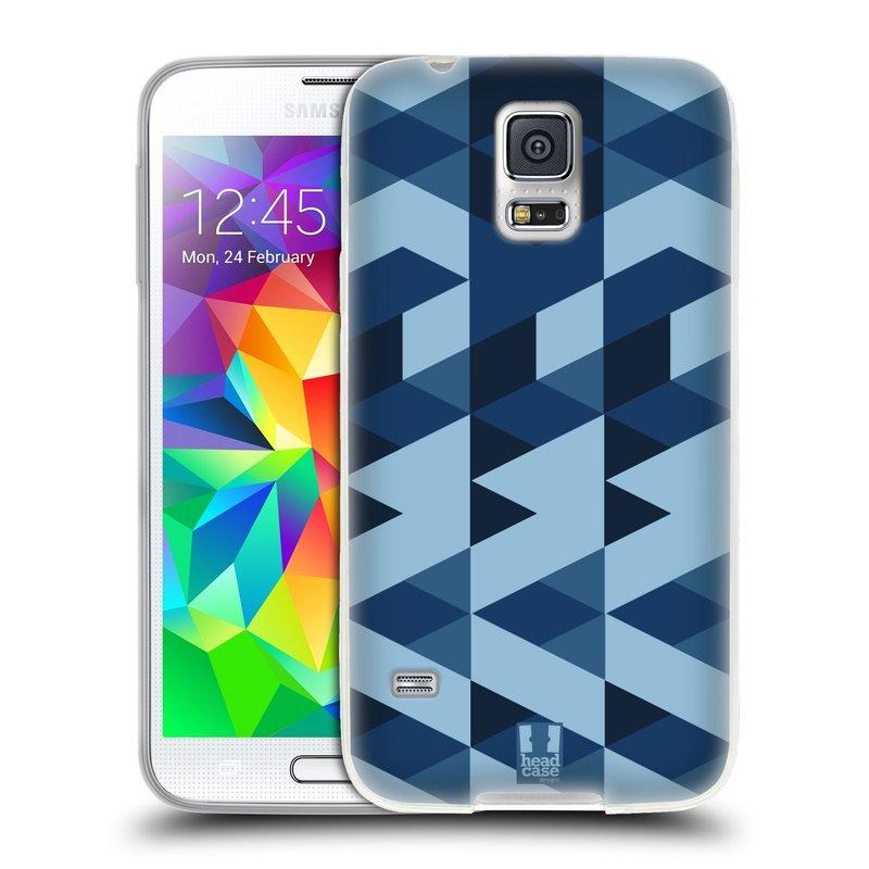 Silikonové pouzdro na mobil Samsung Galaxy S5 HEAD CASE GEOMETRIC BLUE (Silikonový kryt či obal na mobilní telefon Samsung Galaxy S5 SM-G900F)