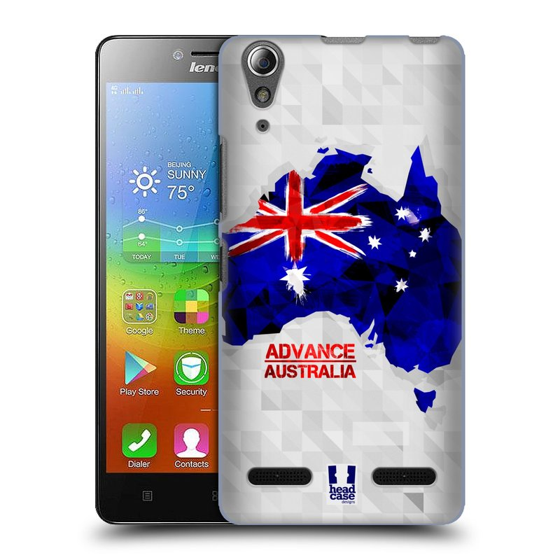 Plastové pouzdro na mobil Lenovo A6000 HEAD CASE GEOMAPA AUSTRÁLIE (Kryt či obal na mobilní telefon Lenovo A6000 / A6000 Plus)