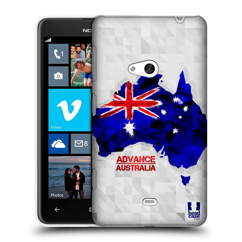 Plastové pouzdro na mobil Nokia Lumia 625 HEAD CASE GEOMAPA AUSTRÁLIE (Kryt či obal na mobilní telefon Nokia Lumia 625)