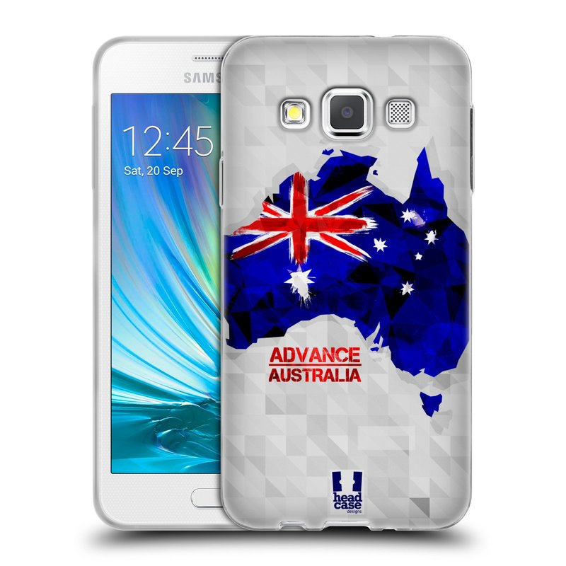 Silikonové pouzdro na mobil Samsung Galaxy A3 HEAD CASE GEOMAPA AUSTRÁLIE (Silikonový kryt či obal na mobilní telefon Samsung Galaxy A3 SM-A300)