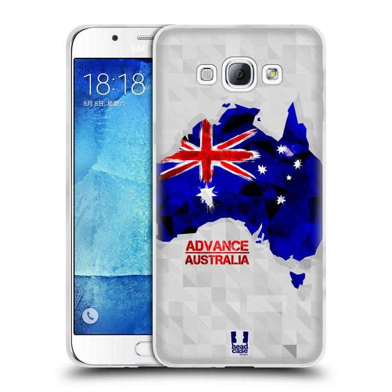 Silikonové pouzdro na mobil Samsung Galaxy A8 HEAD CASE GEOMAPA AUSTRÁLIE (Silikonový kryt či obal na mobilní telefon Samsung Galaxy A8 SM-A800)