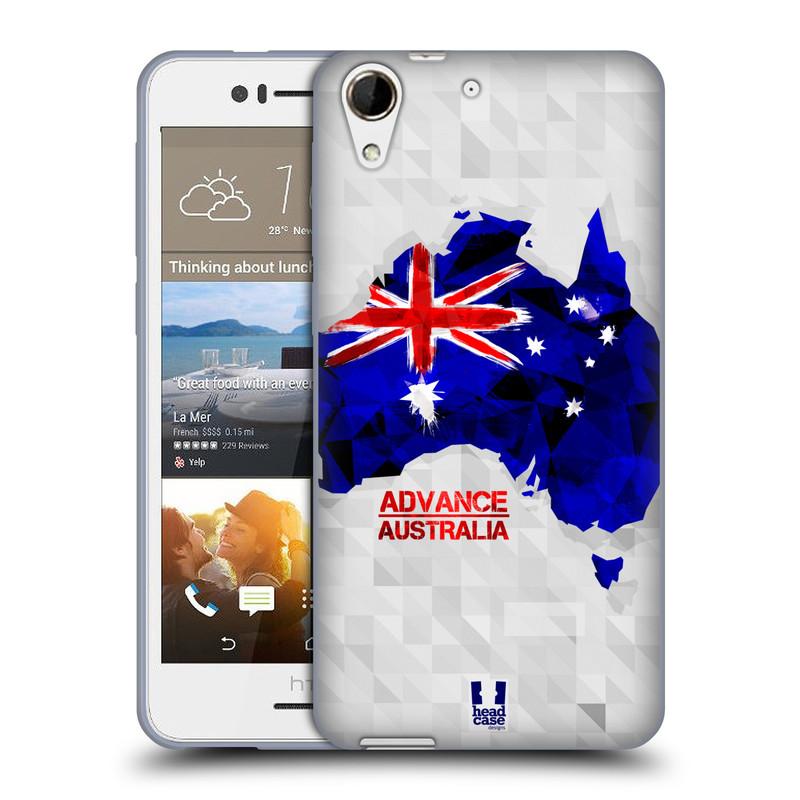 Silikonové pouzdro na mobil HTC Desire 728G Dual SIM HEAD CASE GEOMAPA AUSTRÁLIE (Silikonový kryt či obal na mobilní telefon HTC Desire 728 G Dual SIM)