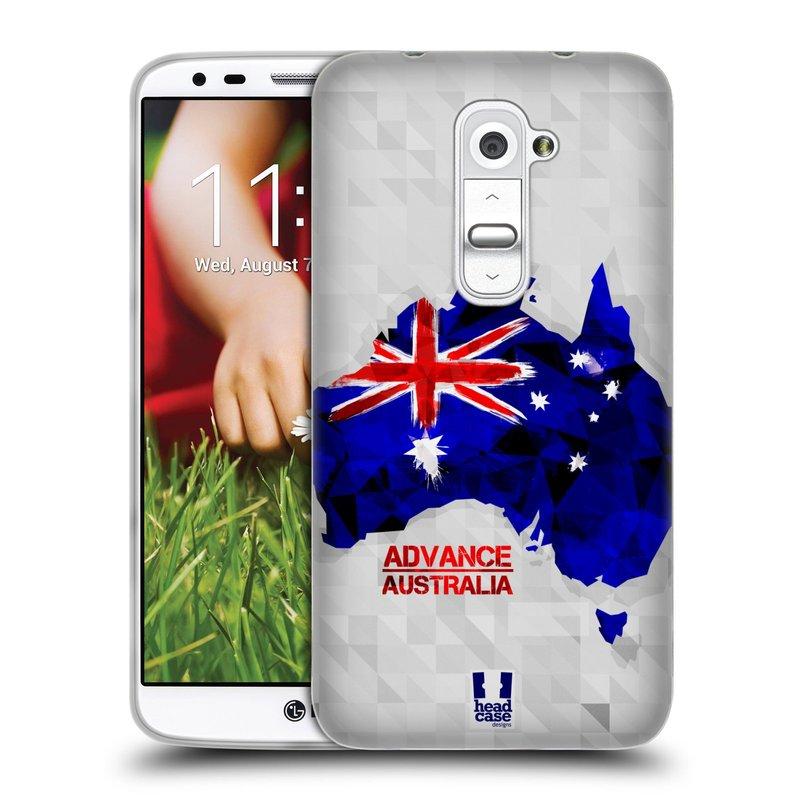 Silikonové pouzdro na mobil LG G2 HEAD CASE GEOMAPA AUSTRÁLIE (Silikonový kryt či obal na mobilní telefon LG G2 D802)