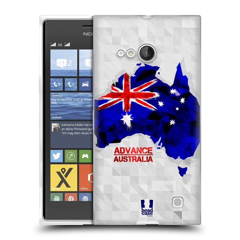 Silikonové pouzdro na mobil Nokia Lumia 730 Dual SIM HEAD CASE GEOMAPA AUSTRÁLIE (Silikonový kryt či obal na mobilní telefon Nokia Lumia 730 Dual SIM)