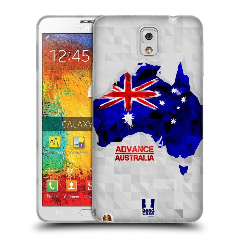 Silikonové pouzdro na mobil Samsung Galaxy Note 3 HEAD CASE GEOMAPA AUSTRÁLIE (Silikonový kryt či obal na mobilní telefon Samsung Galaxy Note 3 SM-N9005)