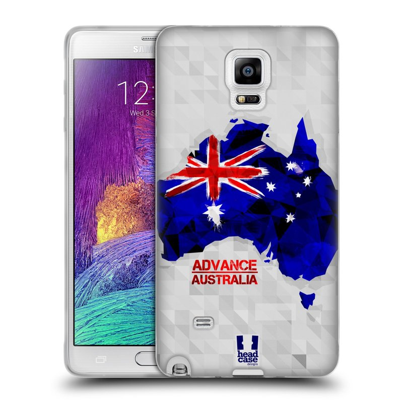 Silikonové pouzdro na mobil Samsung Galaxy Note 4 HEAD CASE GEOMAPA AUSTRÁLIE (Silikonový kryt či obal na mobilní telefon Samsung Galaxy Note 4 SM-N910F)