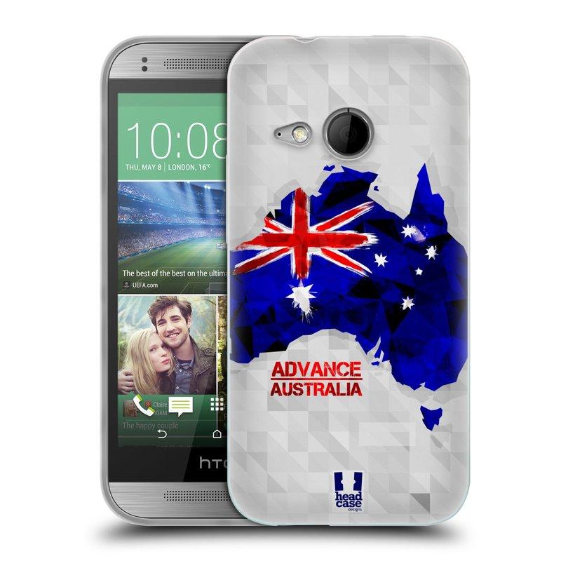 Silikonové pouzdro na mobil HTC ONE Mini 2 HEAD CASE GEOMAPA AUSTRÁLIE (Silikonový kryt či obal na mobilní telefon HTC ONE Mini 2)