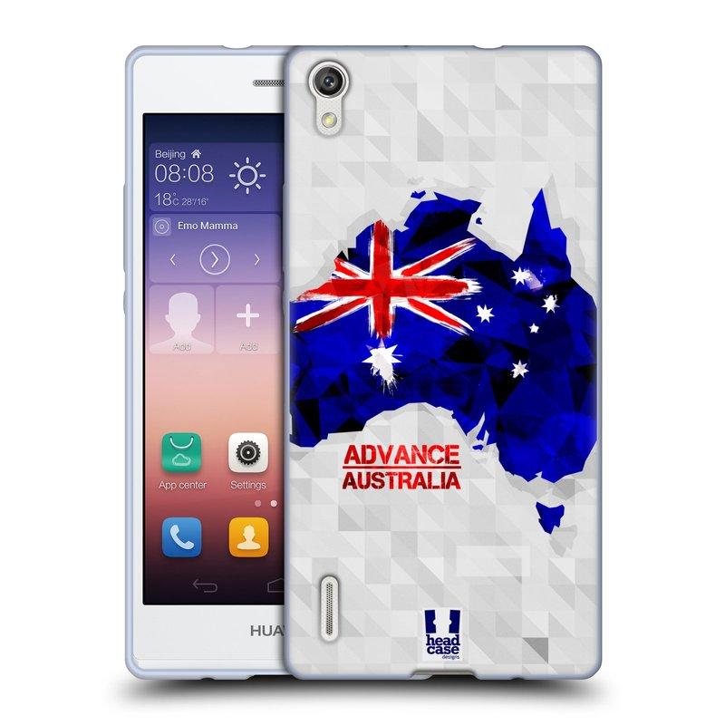Silikonové pouzdro na mobil Huawei P7 HEAD CASE GEOMAPA AUSTRÁLIE (Silikonový kryt či obal na mobilní telefon Huawei Ascend P7)