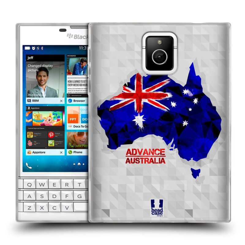 Silikonové pouzdro na mobil Blackberry PASSPORT HEAD CASE GEOMAPA AUSTRÁLIE (Silikonový kryt či obal na mobilní telefon Blackberry PASSPORT)