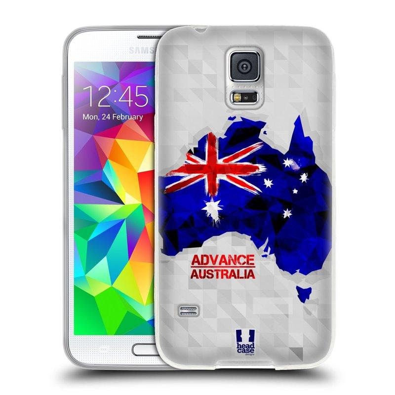 Silikonové pouzdro na mobil Samsung Galaxy S5 HEAD CASE GEOMAPA AUSTRÁLIE (Silikonový kryt či obal na mobilní telefon Samsung Galaxy S5 SM-G900F)