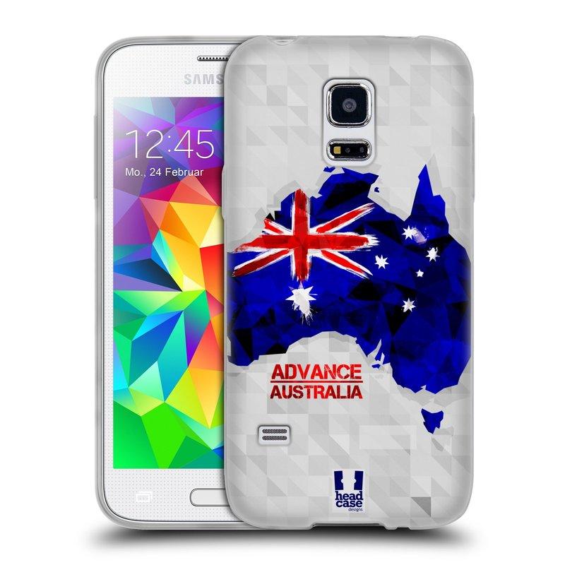Silikonové pouzdro na mobil Samsung Galaxy S5 Mini HEAD CASE GEOMAPA AUSTRÁLIE (Silikonový kryt či obal na mobilní telefon Samsung Galaxy S5 Mini SM-G800F)